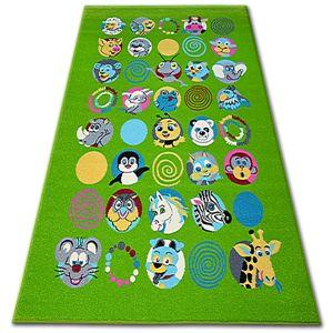 3kraft Dětský koberec FUNKY ANIMALS zelený