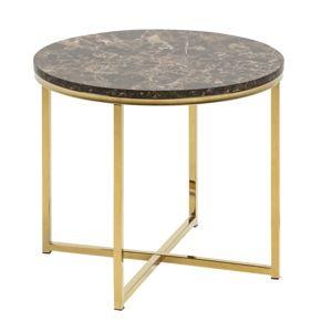 Hector Konferenční stolek Glasgow IV mramor hnědý/zlatý