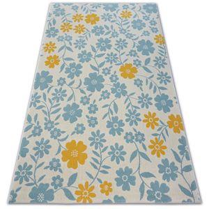 3kraft Kusový koberec PASTEL 18414/062 - květiny / krémový tyrkysový zlatý