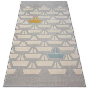 3kraft Kusový koberec PASTEL 18411/052 - loďky / šedý krémový tyrkysový zlatý