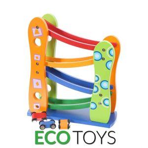 ECOTOYS Dřevěná dráha se 3 autíčky Eco Toys