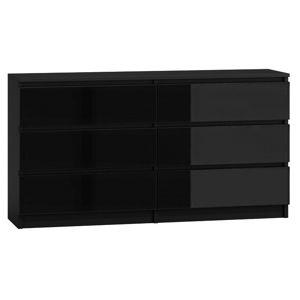 Shoptop Komoda MALWA M6 140 cm lesklá černá