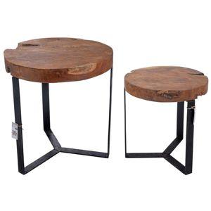 DekorStyle Sada 2 dřevěných stolků OFELIA - hnědá