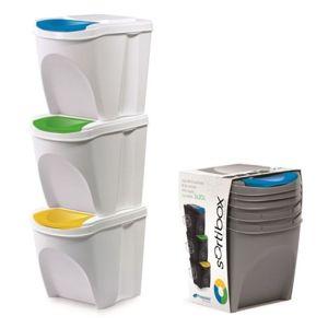 PlasticFuture Sada 3 odpadkových košů 3x25 L DEILA bílá