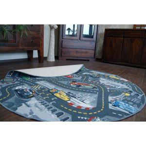3kraft Dětský kulatý koberec CARS šedý