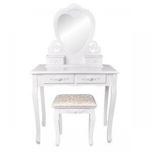 MODERNHOME Toaletní kosmetický stolek se zrcadlem a taburetem Zayn bílý