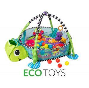 ECOTOYS Vzdělávací hrací deka s míčky Eco Toys - želva