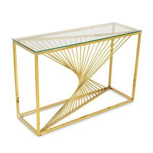 DekorStyle Konzolový stolek LAINE zlatý