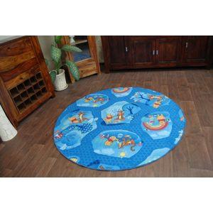 3kraft Dětský kulatý koberec Medvídek PÚ & TYGŘÍK modrý