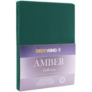DecoKing Bavlněné prostěradlo AmeliaHome AMBER tmavě zelené