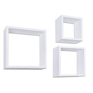 TZB Nástěnné poličky Cube Ctverc bílé - sada 3 kusů