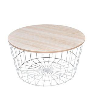 DekorStyle Drátěný konferenční stolek bílý