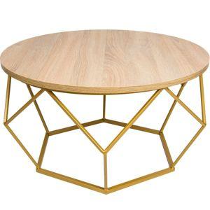 DekorStyle Konferenční stůl Gangert hnědo-zlatý