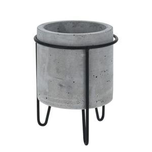 DekorStyle Květináč na stojanu Sindra 18 cm šedý