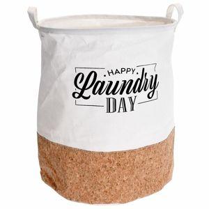DekorStyle Koš na prádlo Happy Laundry bílo-hnědý