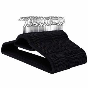 Rongomic Velurové ramínko na oděvy 100 kusů - černé