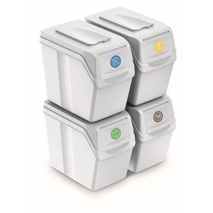 PlasticFuture Sada košů na třídění odpadu HADAR 4x20L bílá