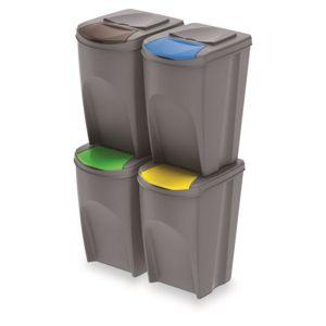 PlasticFuture Sada košů na třídění odpadu SORTIBOX 4x35L šedá