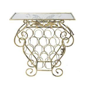 DekorStyle Dekorativní stojan na 16 lahví Garth zlatý