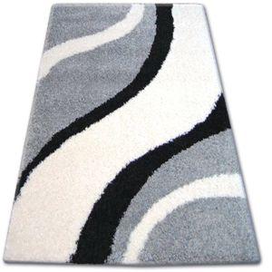 3kraft Kusový koberec SHAGGY ZENA SAM šedý / bílý