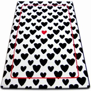 3kraft Kusový koberec SKETCH SEAN bílý / černý - srdce
