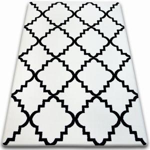 3kraft Kusový koberec SKETCH JOSEPH bílý / černý trellis
