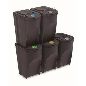 PlasticFuture Sada košů na třídění odpadu BOXTER III 5x35L antracit