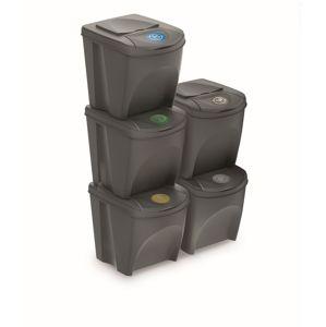 PlasticFuture Sada košů na třídění odpadu BOXTER 5x25L šedý kámen
