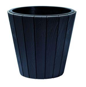 PlasticFuture Květináč z prken Woode tmavě šedý
