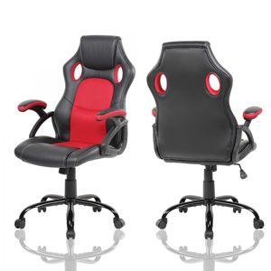 MODERNHOME Otočná herní židle MARA červeno-černá
