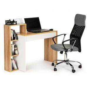 MODERNHOME Kancelářský stůl s knihovnou Ketia hnědo-bílý