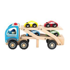 Dřevěné odtahové auto se + autíčky EcoToys hnědé